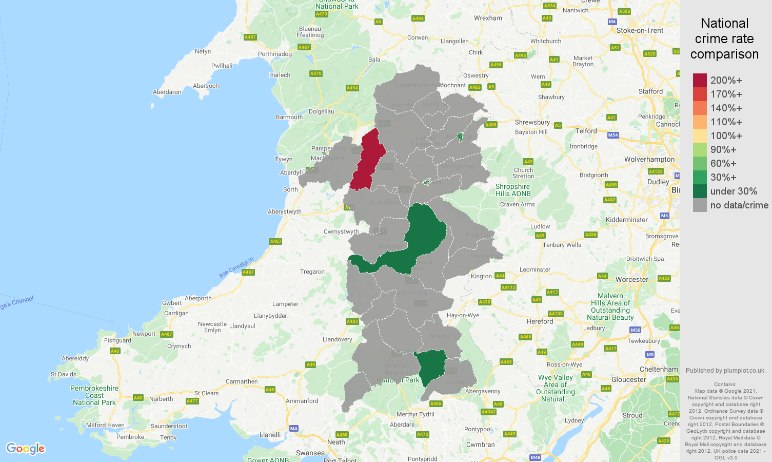 Powys theft from the person crime rate comparison map