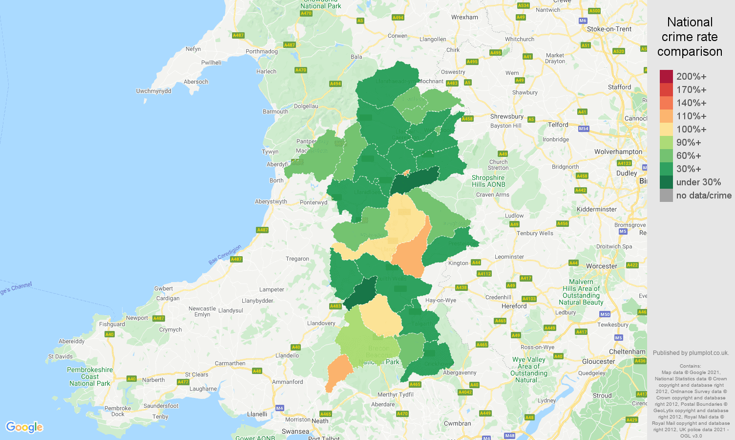 Powys violent crime rate comparison map
