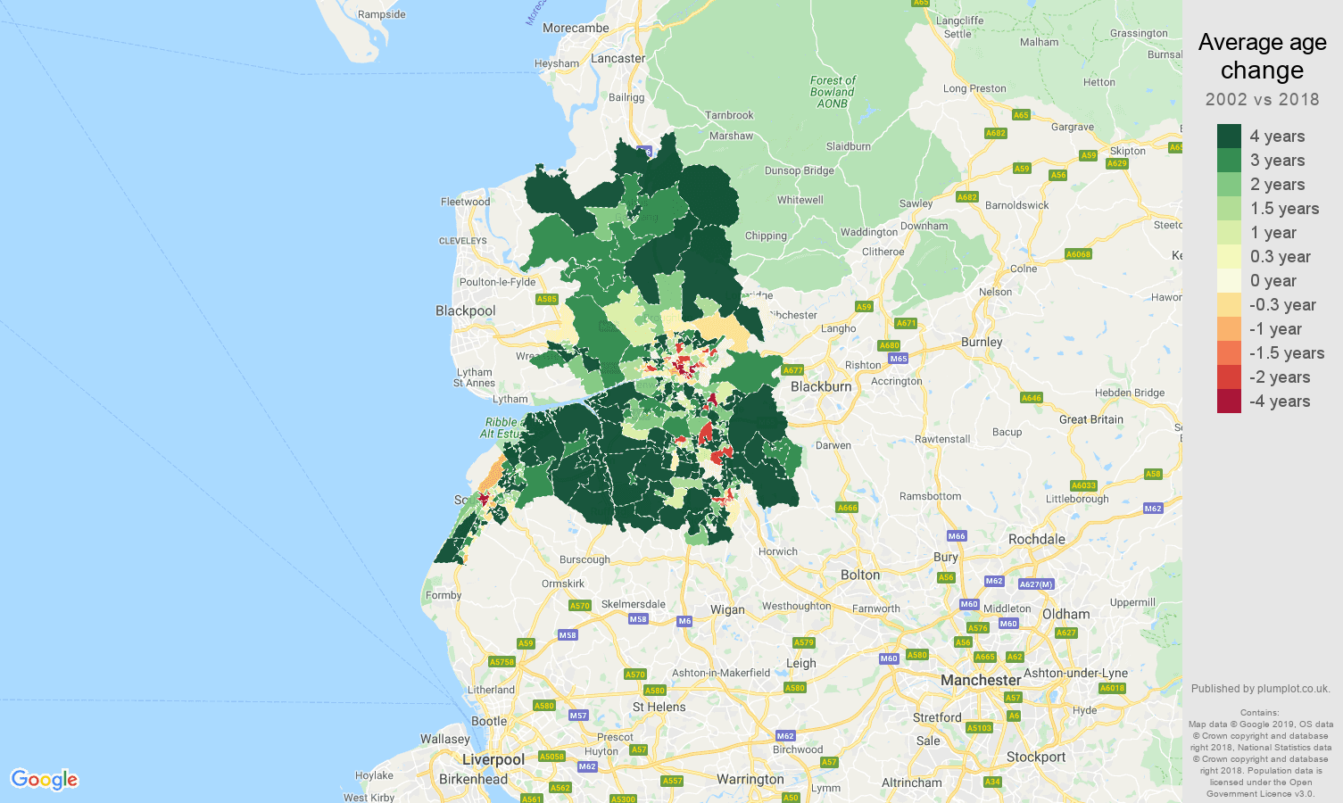Preston average age change map