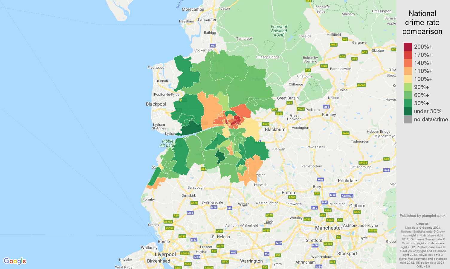 Preston burglary crime rate comparison map