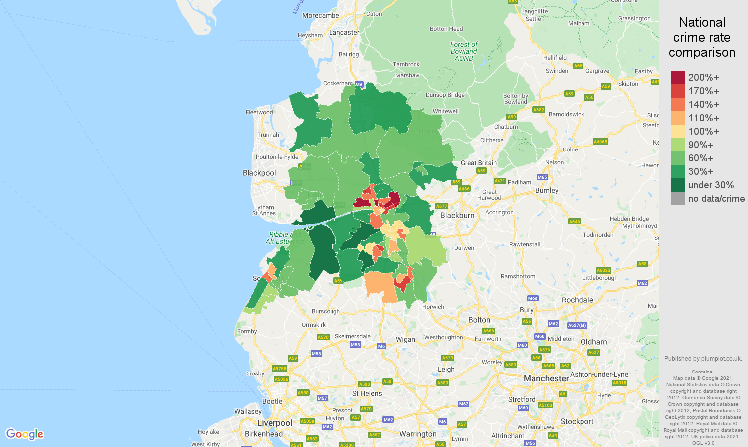 Preston criminal damage and arson crime rate comparison map