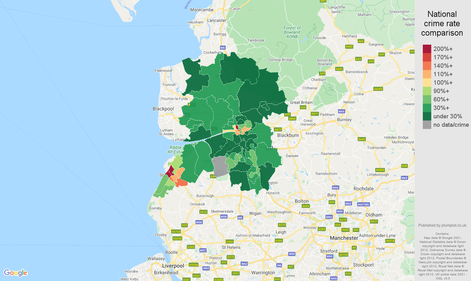 Preston drugs crime rate comparison map