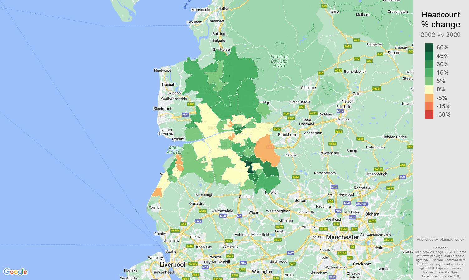Preston headcount change map