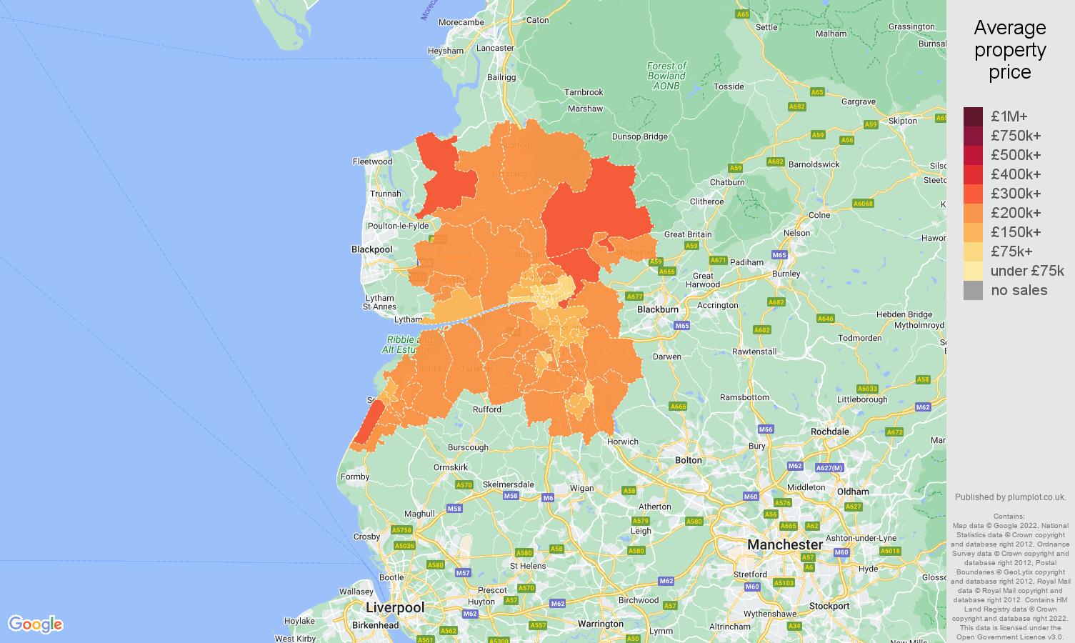 Preston house prices map