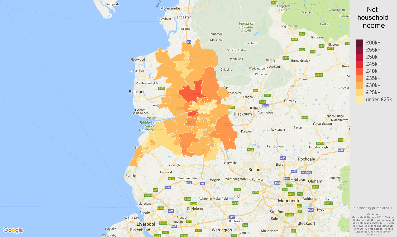 Preston net household income map