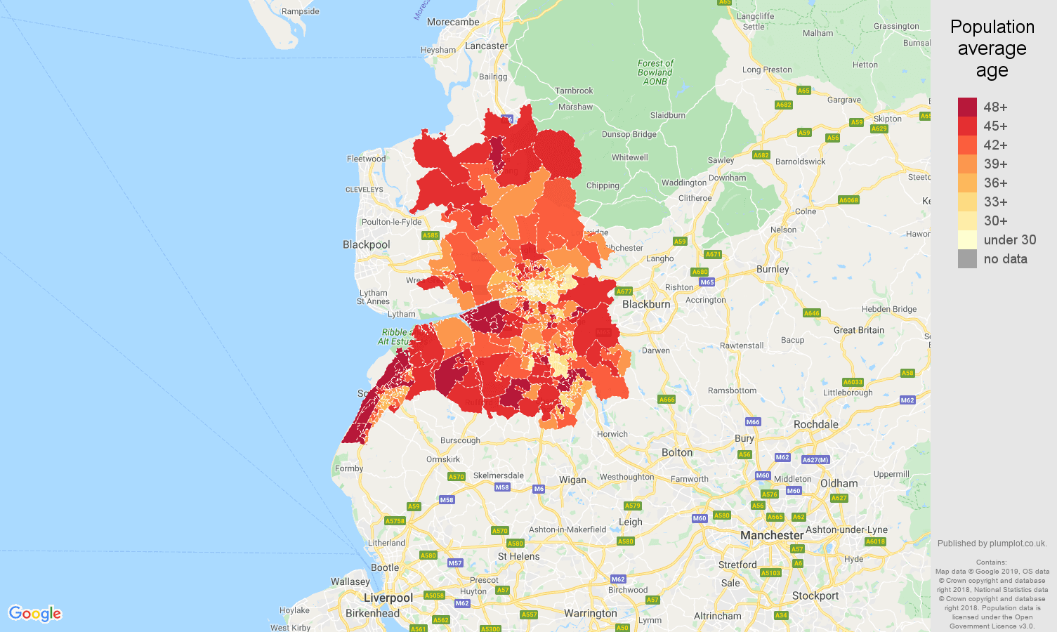 Preston population average age map