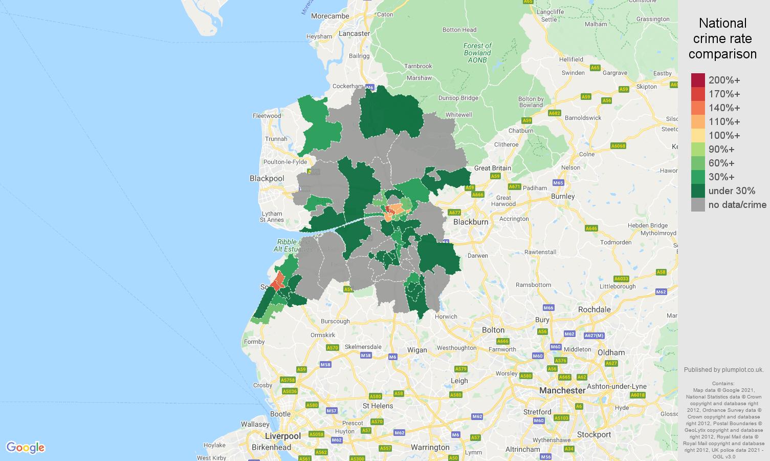 Preston theft from the person crime rate comparison map