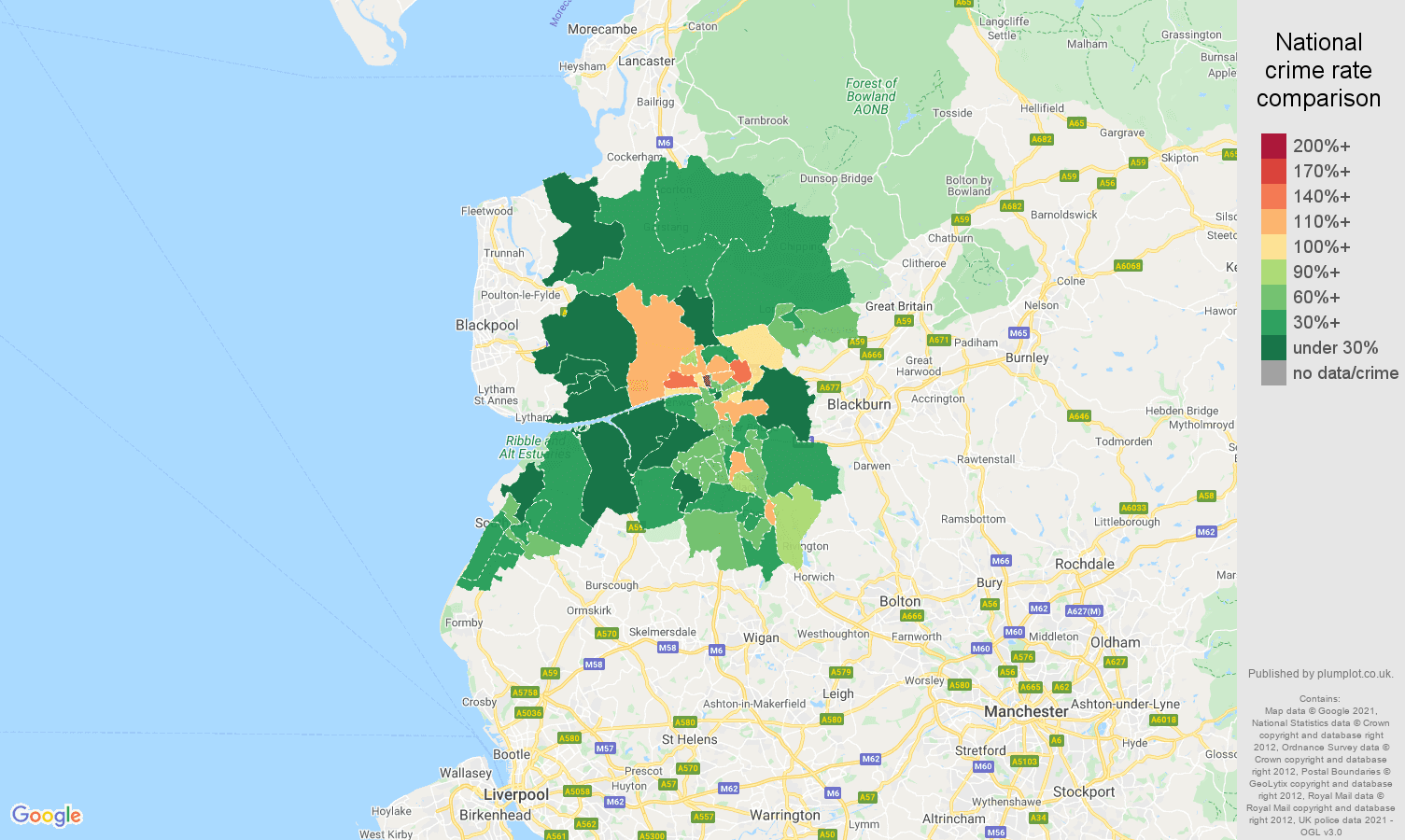 Preston vehicle crime rate comparison map
