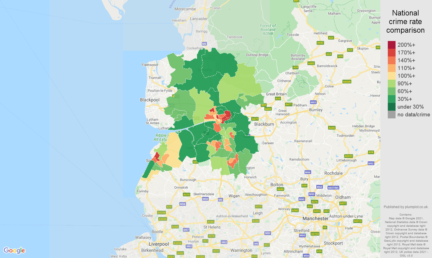 Preston violent crime rate comparison map