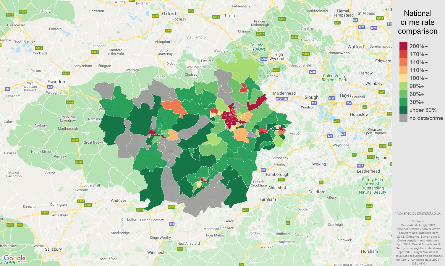 Reading bicycle theft crime rate comparison map