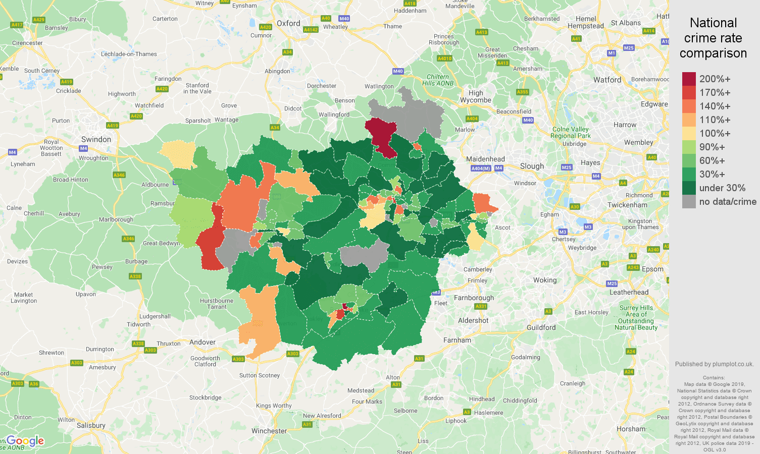 Reading other crime rate comparison map