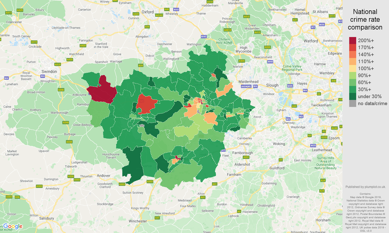 Reading other theft crime rate comparison map