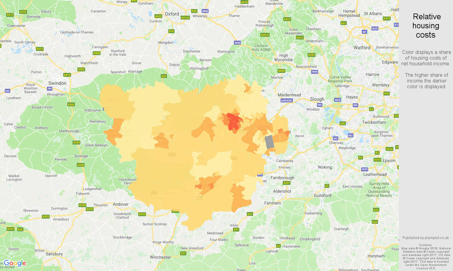 Reading relative housing costs map