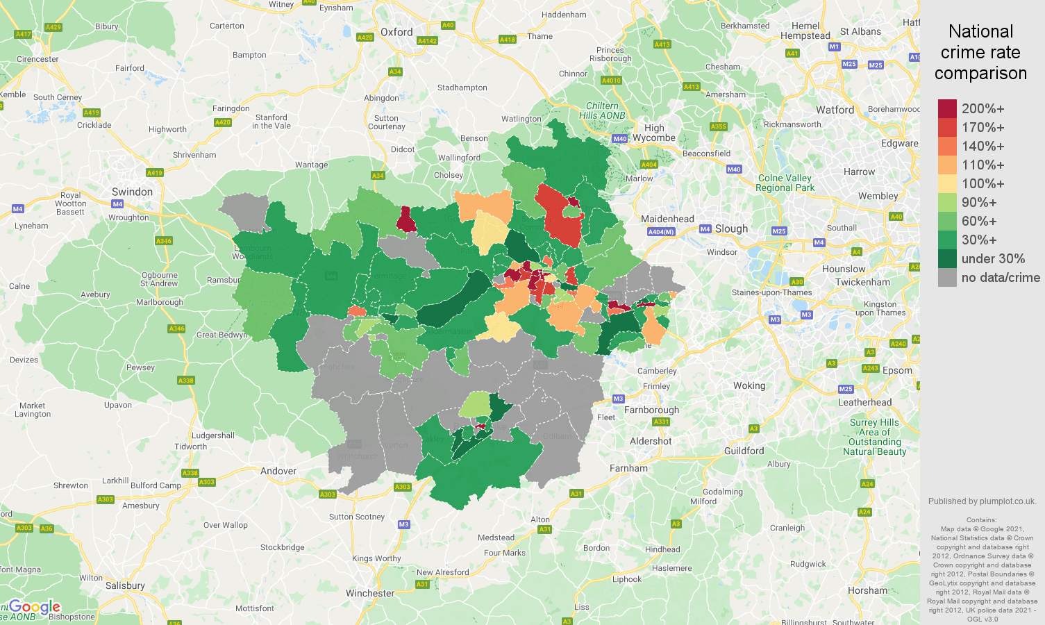 Reading theft from the person crime rate comparison map