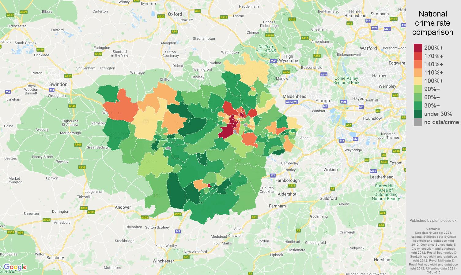 Reading vehicle crime rate comparison map