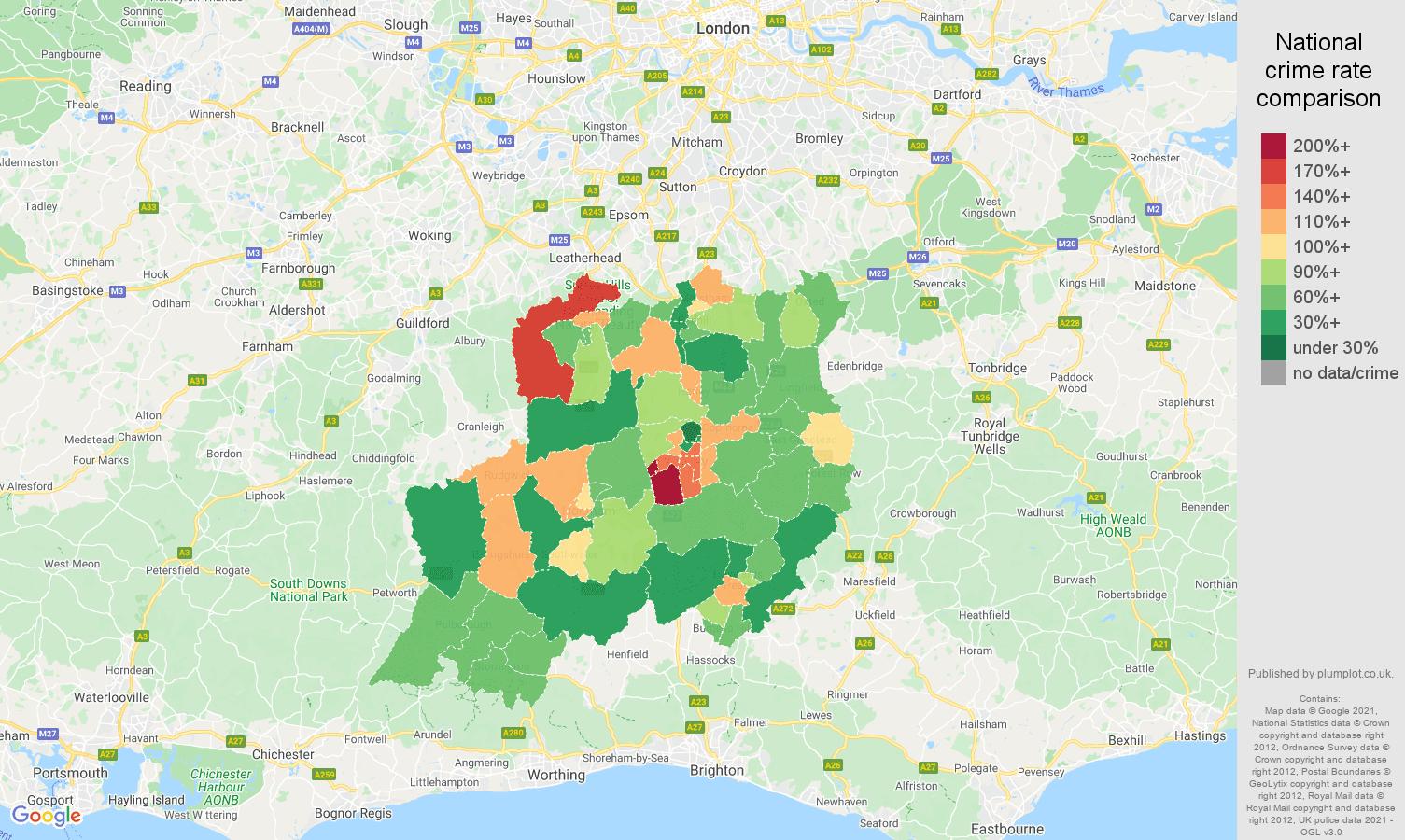 Redhill antisocial behaviour crime rate comparison map