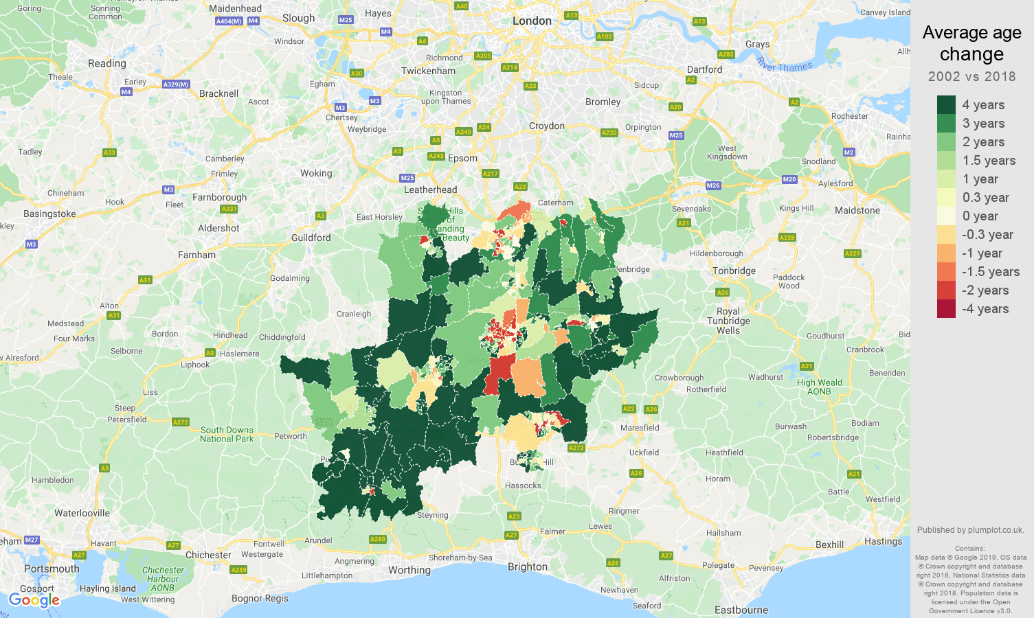 Redhill average age change map