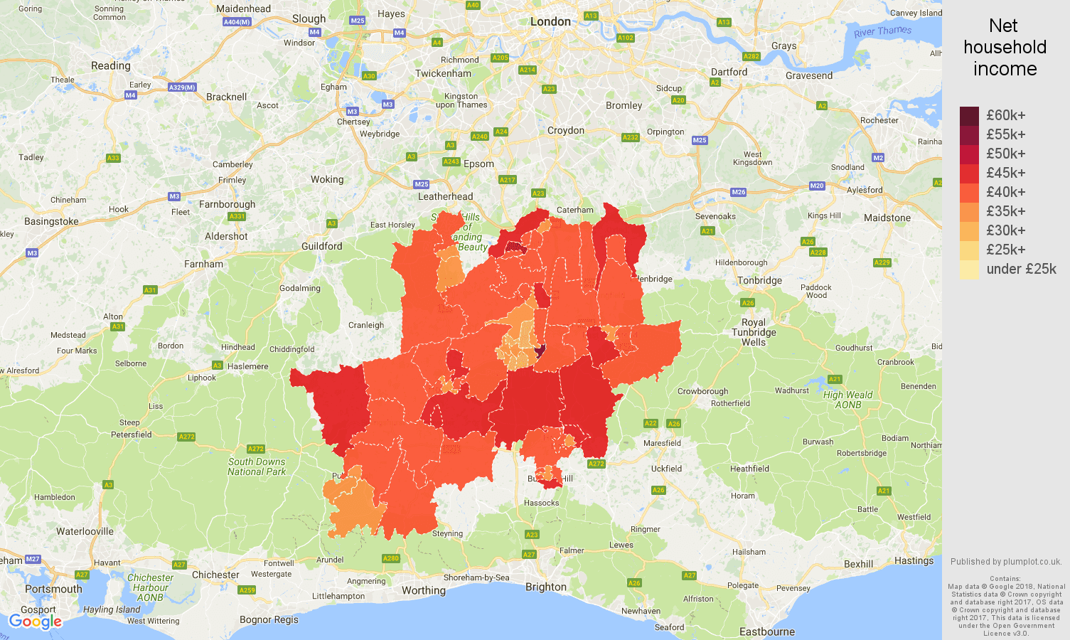Redhill net household income map