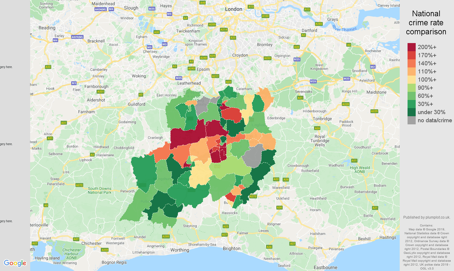 Redhill possession of weapons crime rate comparison map