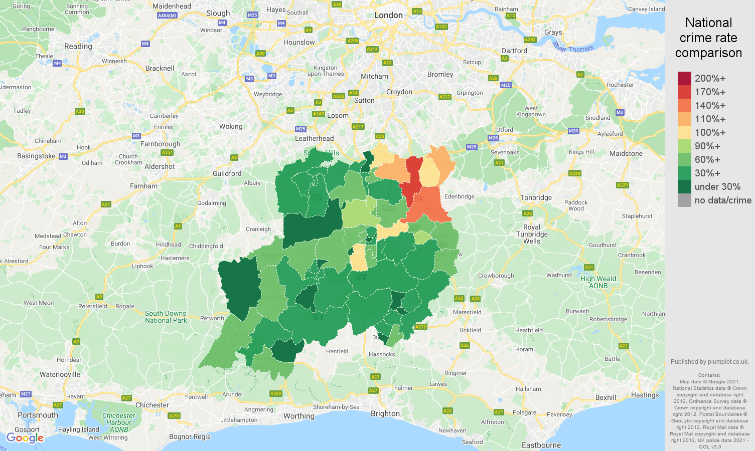 Redhill vehicle crime rate comparison map