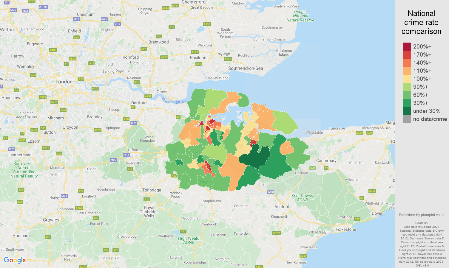 Rochester antisocial behaviour crime rate comparison map