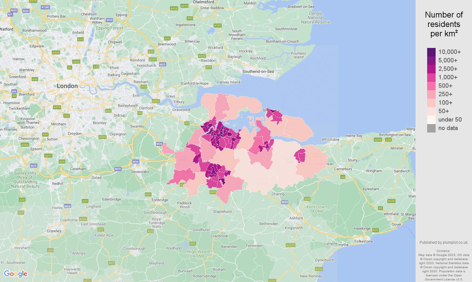 Rochester population density map