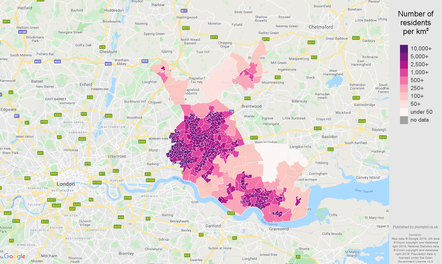 Romford population density map