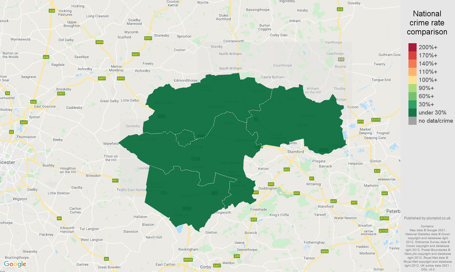 Rutland antisocial behaviour crime rate comparison map