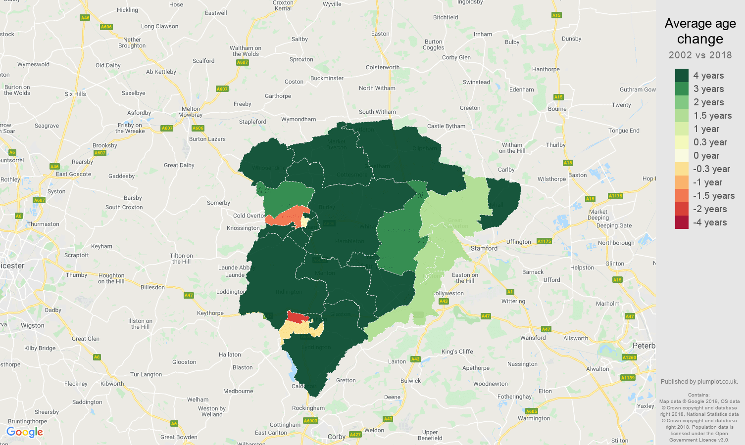 Rutland average age change map