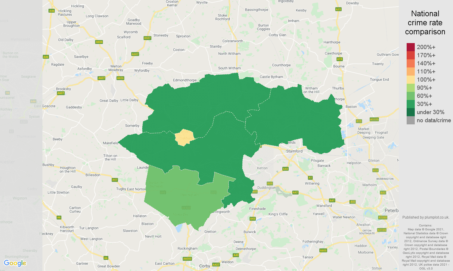 Rutland drugs crime rate comparison map