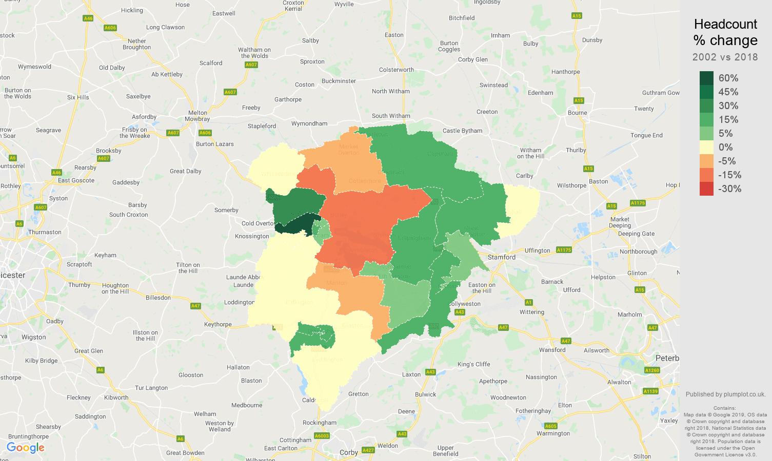 Rutland headcount change map
