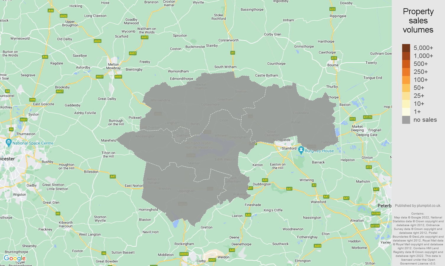 Rutland map of sales of new properties