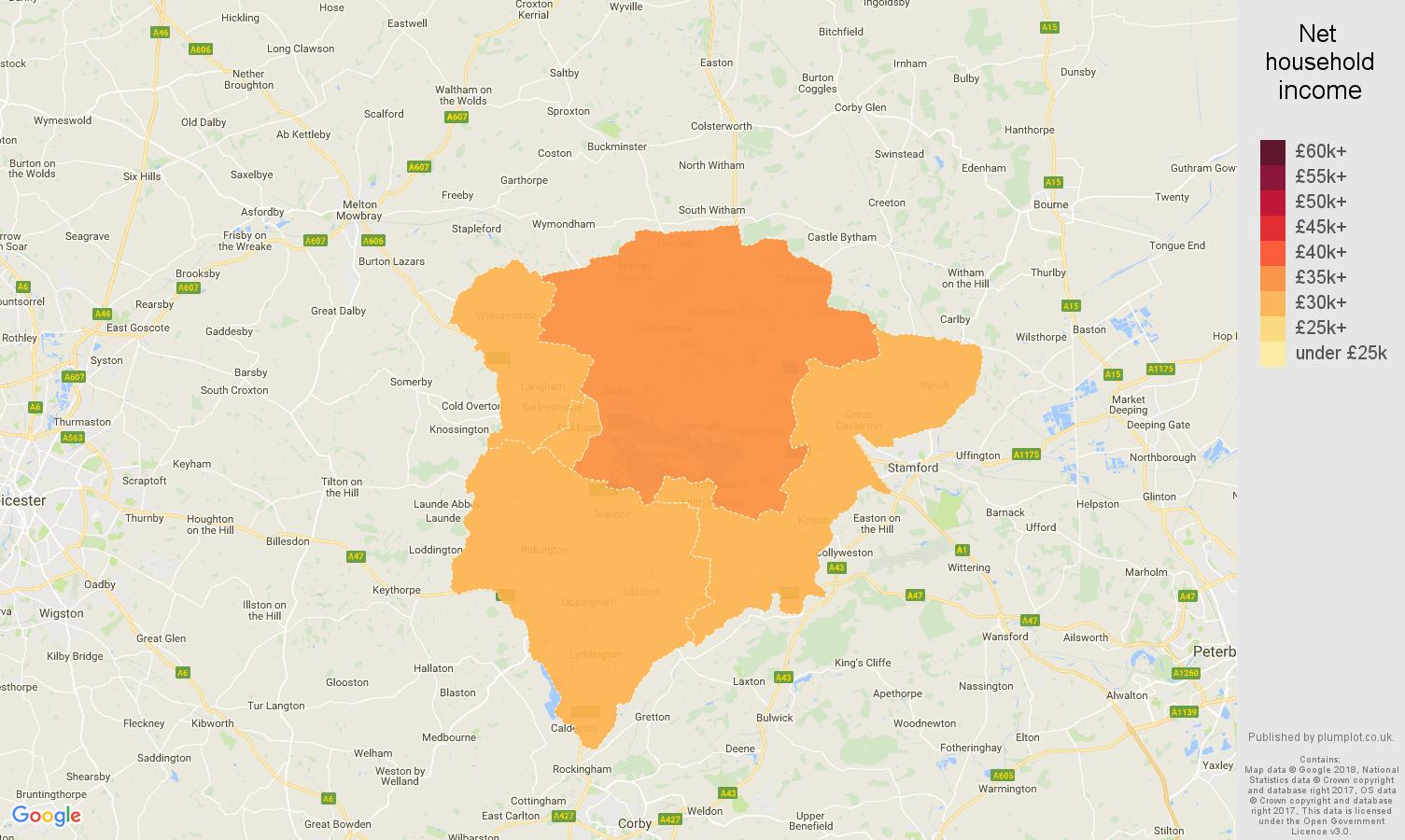 Rutland net household income map