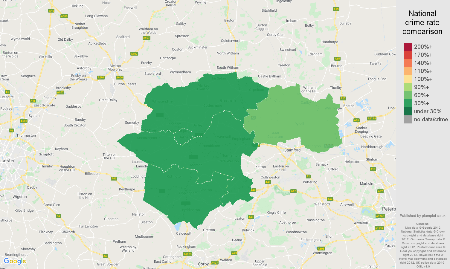 Rutland other theft crime rate comparison map