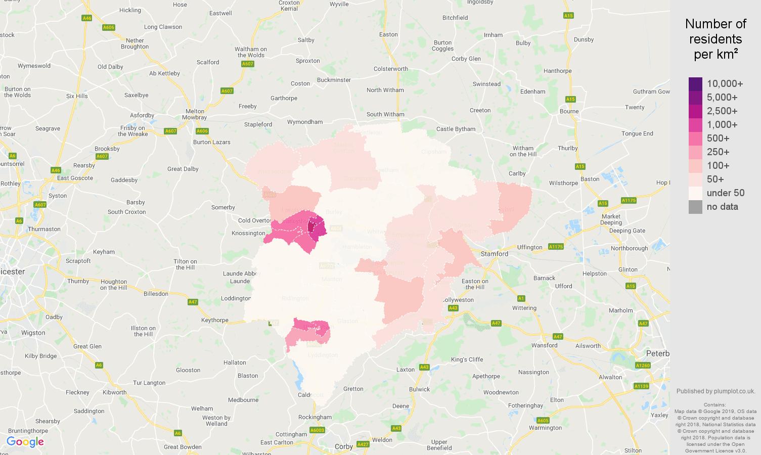 Rutland population density map