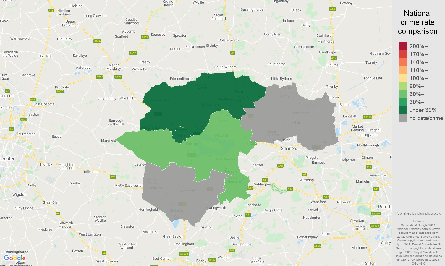 Rutland theft from the person crime rate comparison map