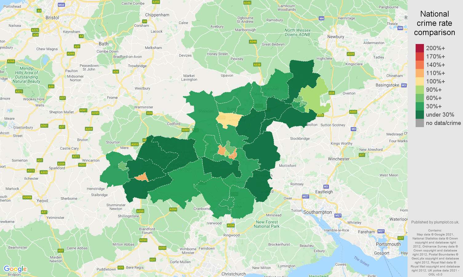Salisbury antisocial behaviour crime rate comparison map