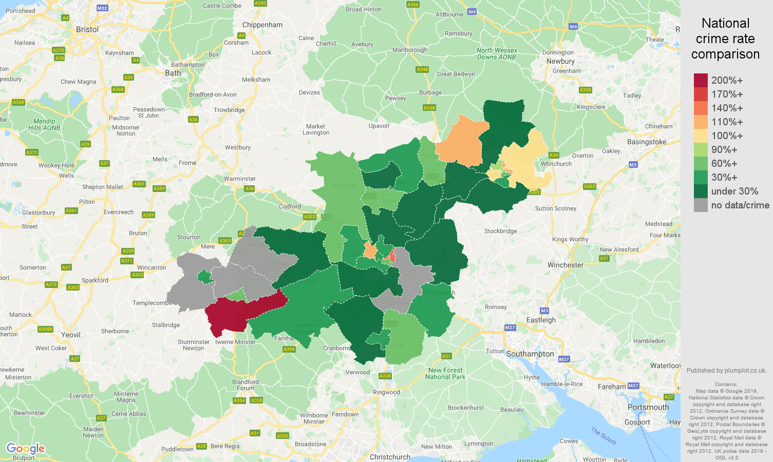 Salisbury other crime rate comparison map