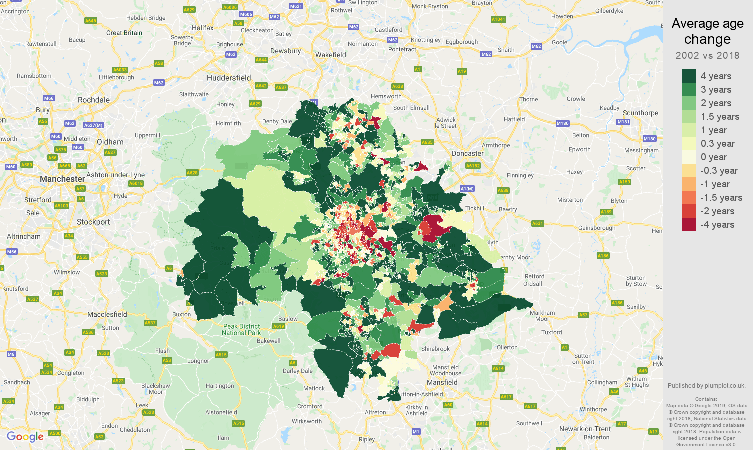 Sheffield average age change map