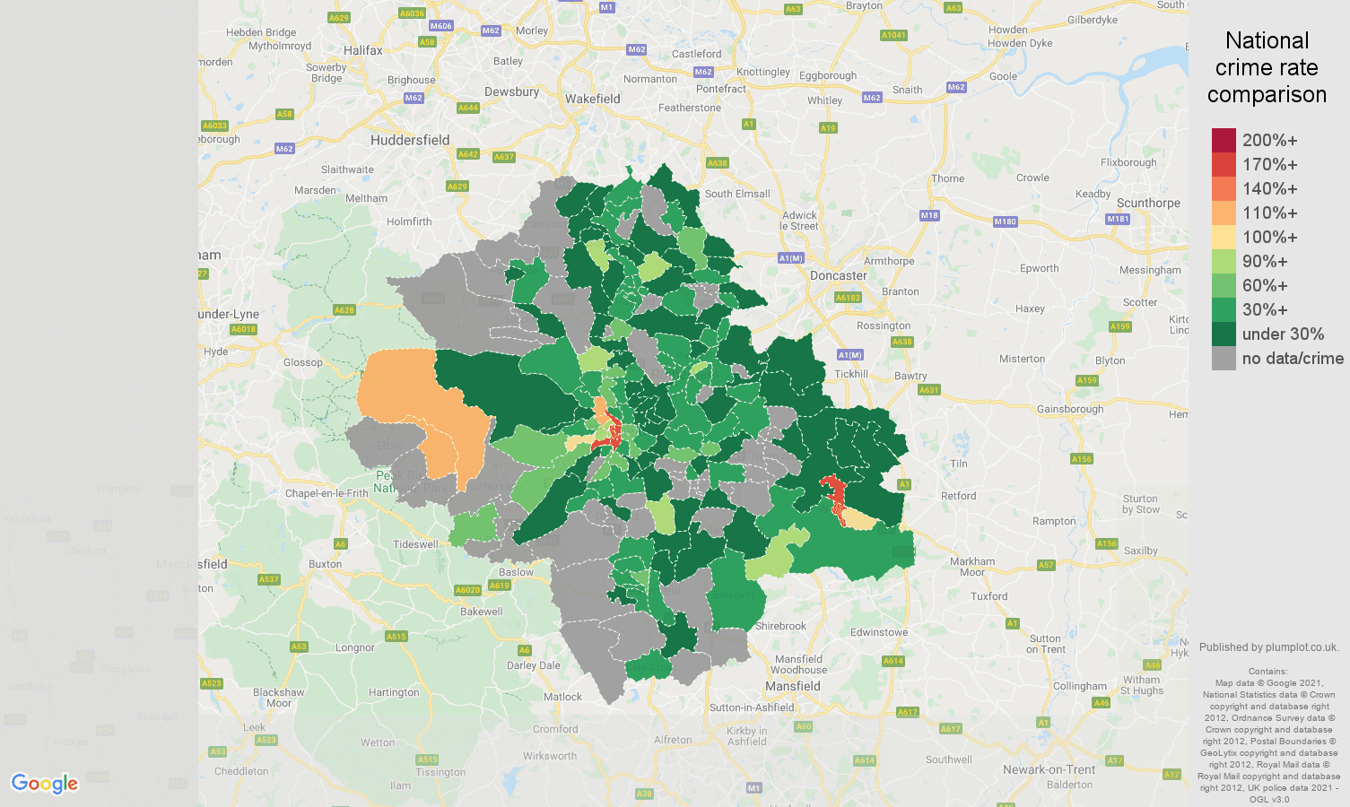 Sheffield bicycle theft crime rate comparison map