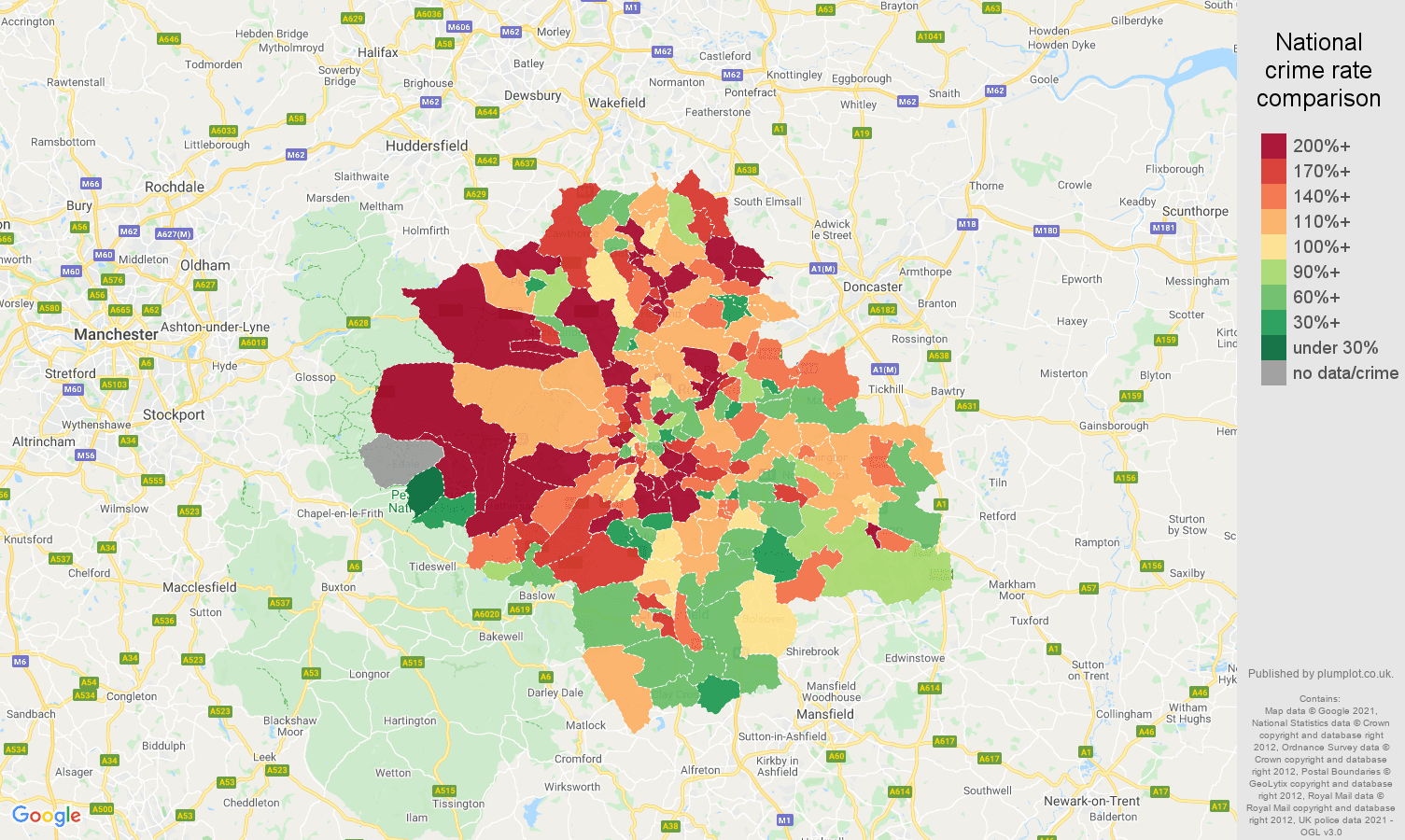 Sheffield burglary crime rate comparison map