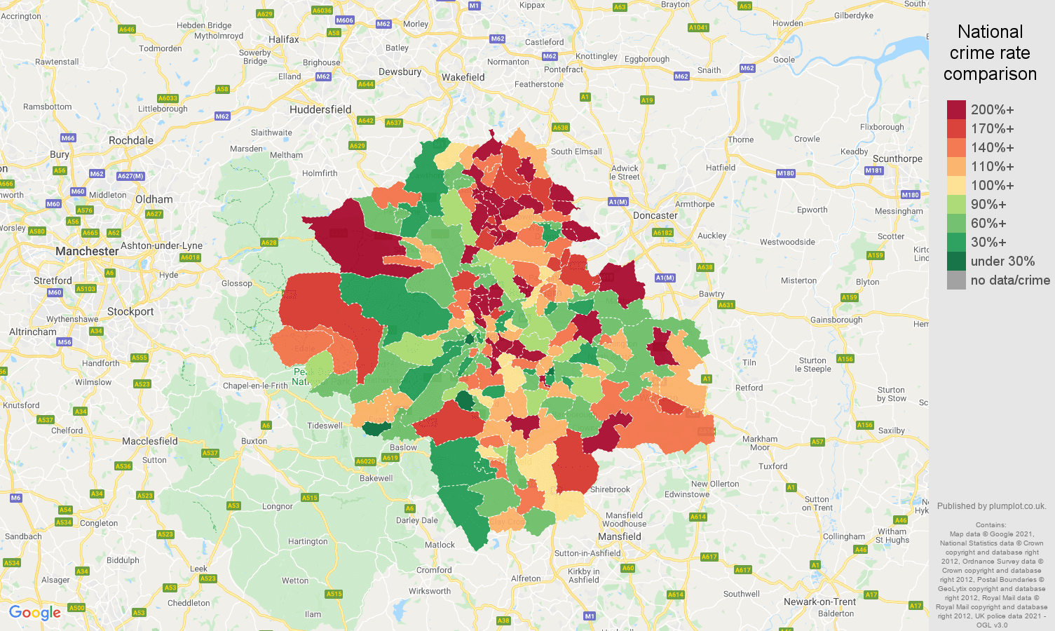 Sheffield criminal damage and arson crime rate comparison map