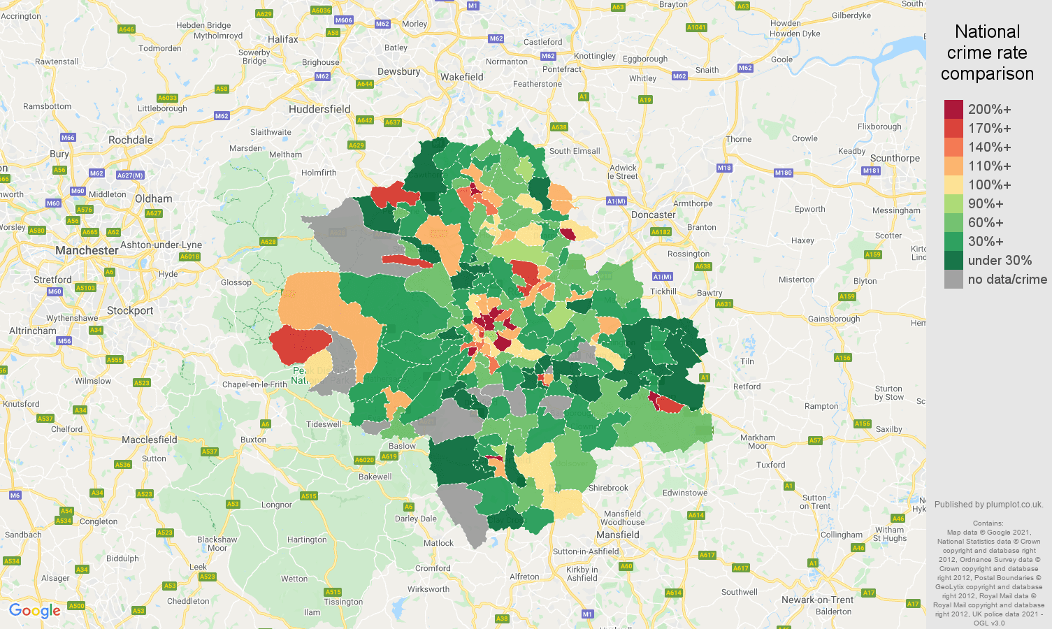 Sheffield drugs crime rate comparison map