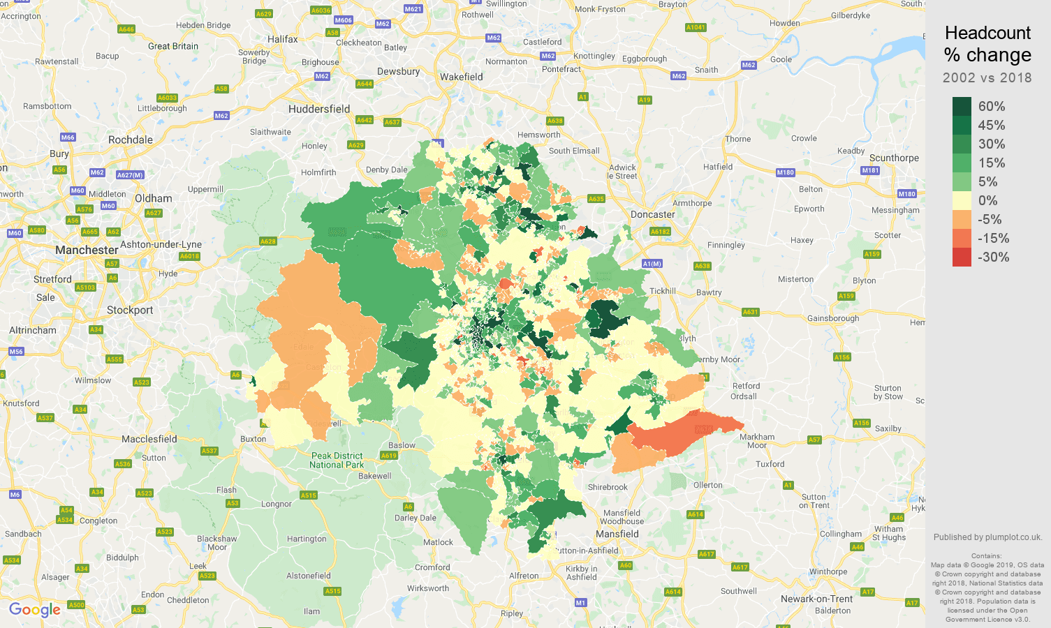 Sheffield headcount change map