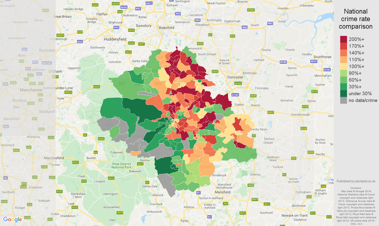 Sheffield other crime rate comparison map