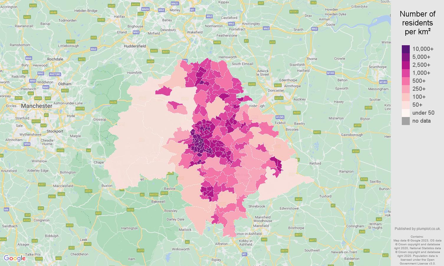 Sheffield population density map