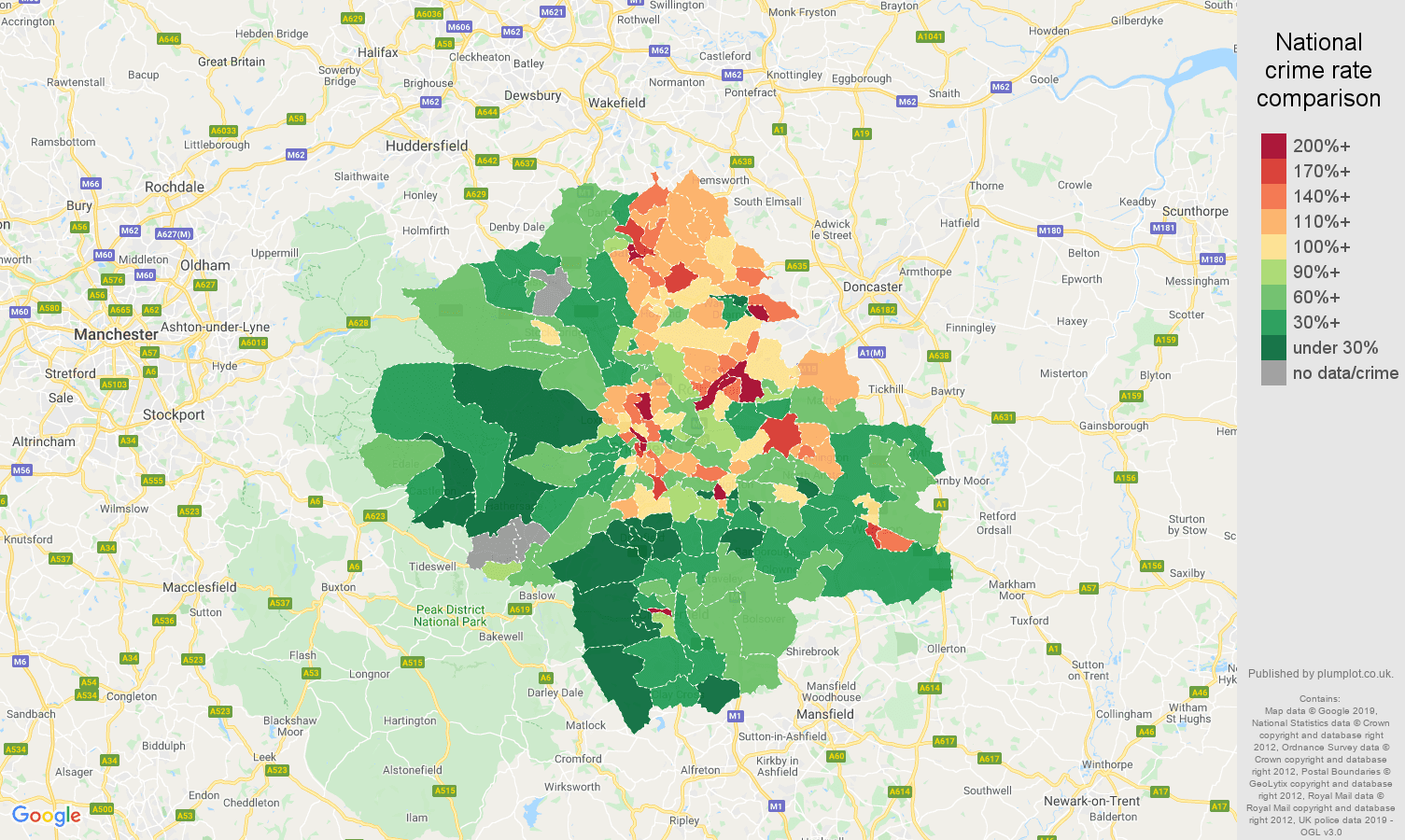 Sheffield public order crime rate comparison map