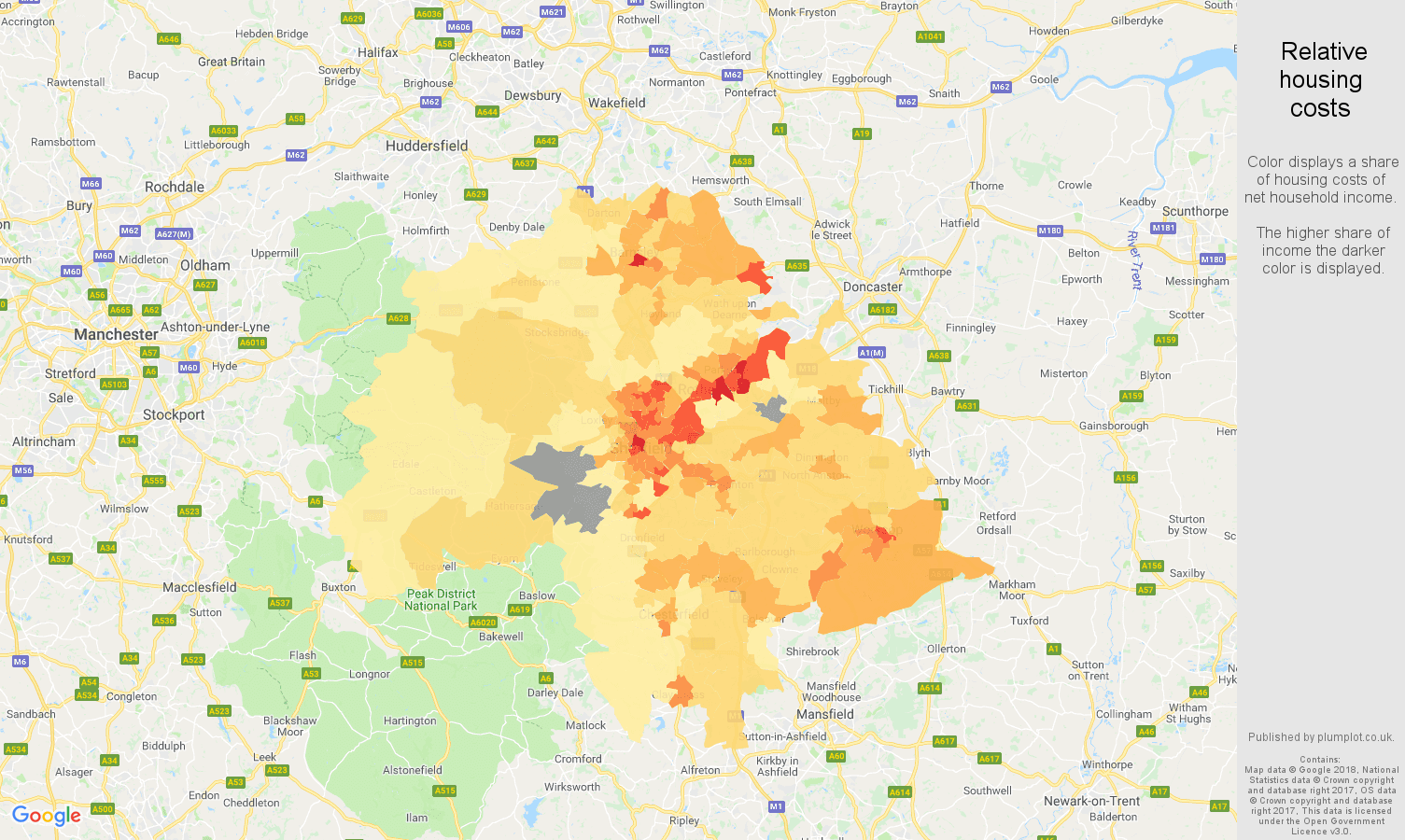 Sheffield relative housing costs map