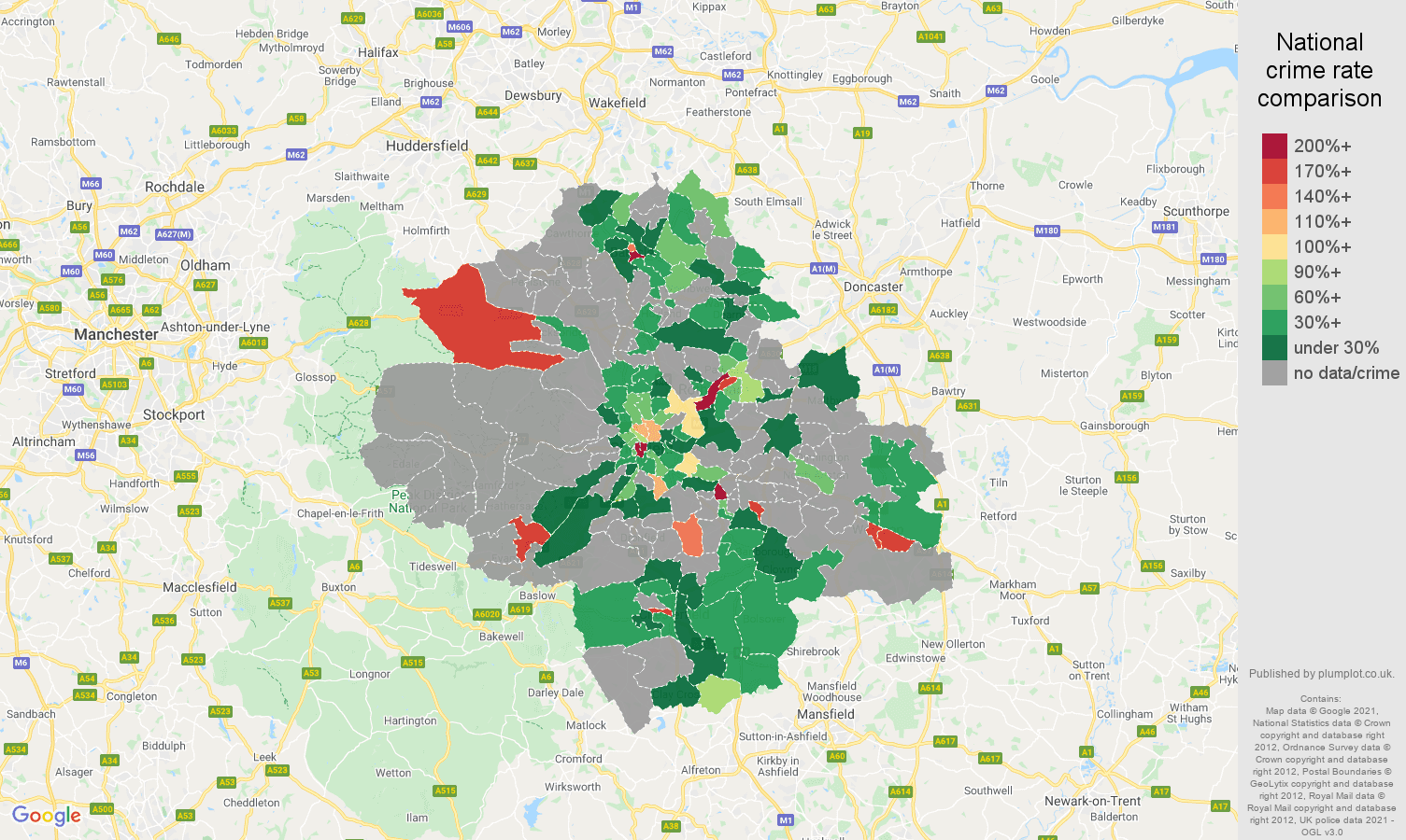 Sheffield theft from the person crime rate comparison map