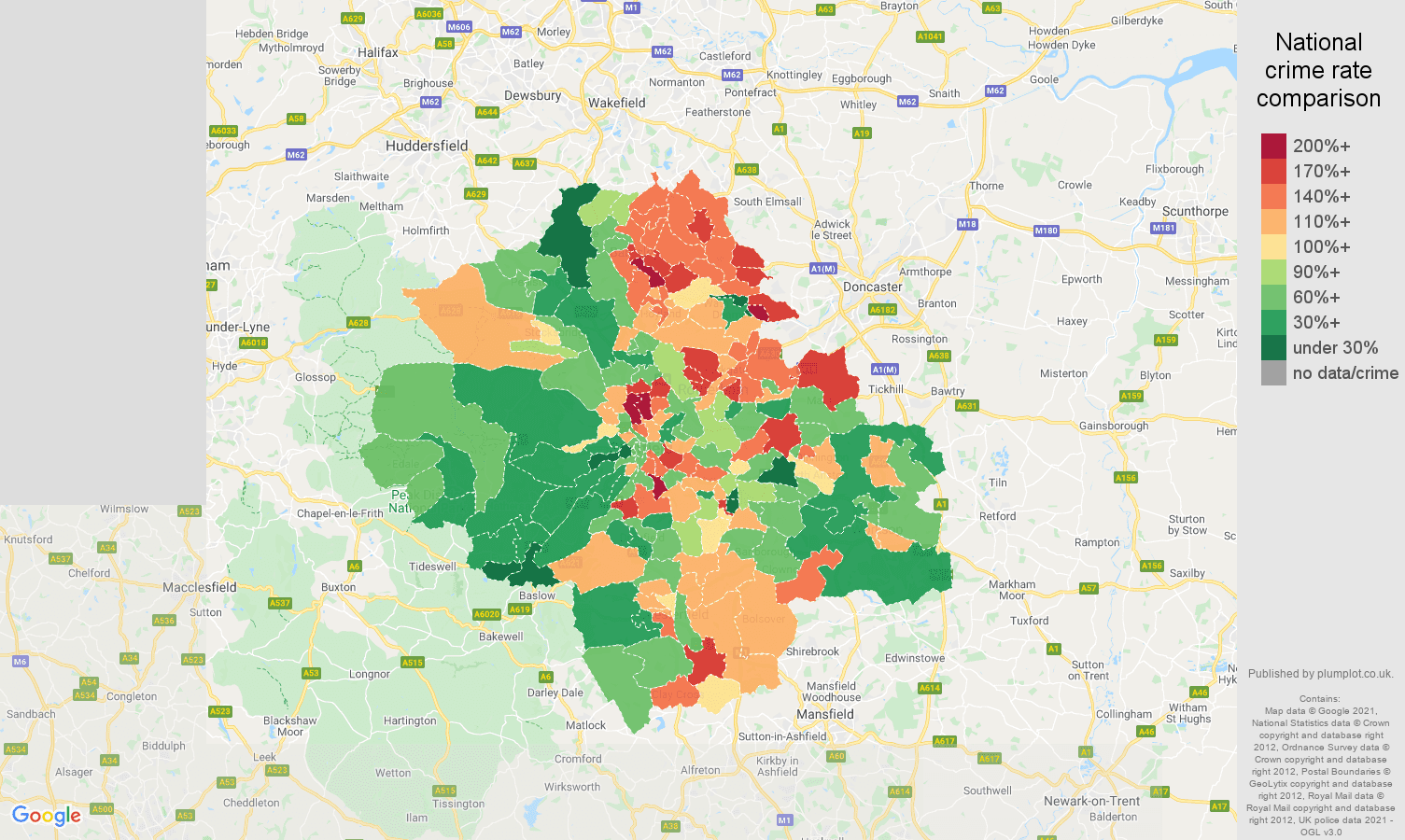 Sheffield violent crime rate comparison map